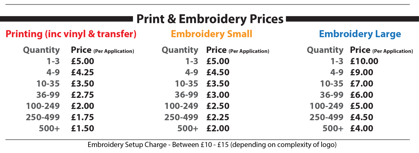 Printing and Embroidery Price List